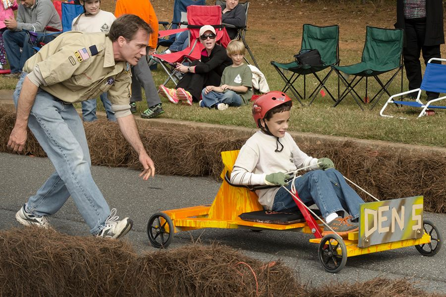 Collin Hembree at a Cub Scout soapbox race.